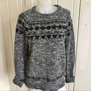 J Crew Fair isle Sweater -S black/white ,